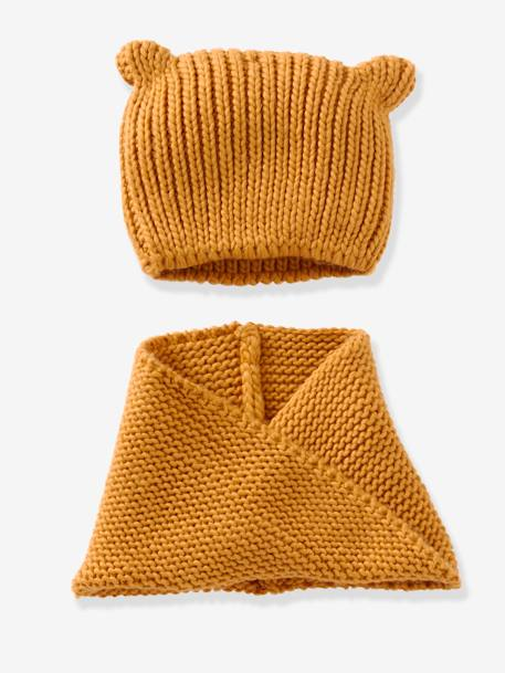 Snood fille + bonnet fantaisie Framboise+GRENAT+Jaune moutarde+ORANGE CLAIR 4 - vertbaudet enfant