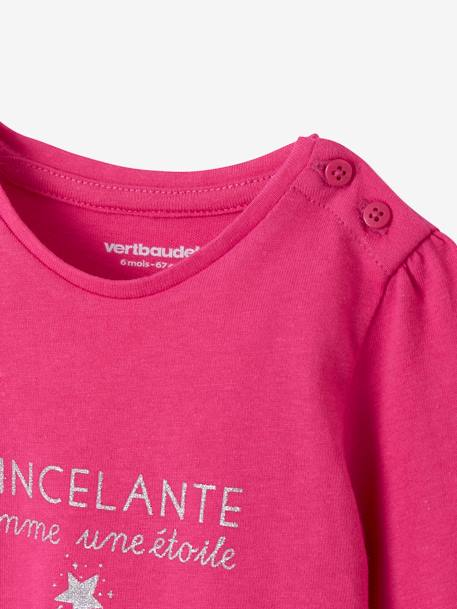 Lot de 2 T-shirts message bébé fille LOT BLANC+LOT FUCHSIA+LOT MARINE GRISE+LOT ROSE PALE 10 - vertbaudet enfant