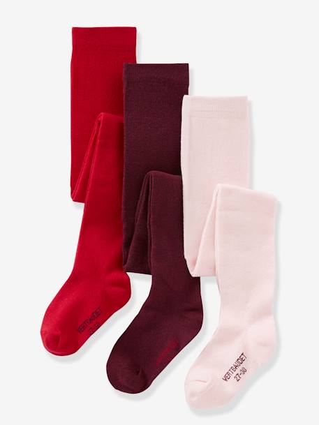 Lot de 3 collants en jersey fille Gris moyen chiné+LOT AUBERGINE+LOT BLEU GRISE+Lot jaune moutarde+LOT MAUVE+Lot rose pâle 3 - vertbaudet enfant