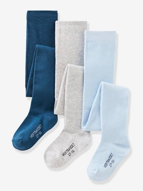 Lot de 3 collants en jersey fille Gris moyen chiné+LOT AUBERGINE+LOT BLEU GRISE+Lot jaune moutarde+LOT MAUVE+Lot rose pâle 4 - vertbaudet enfant