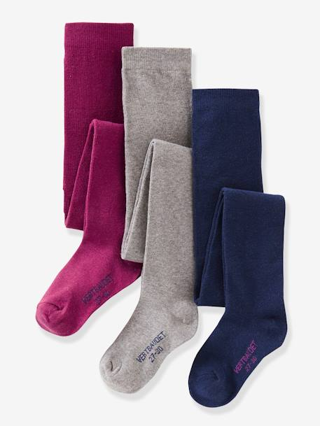 Lot de 3 collants en jersey fille Gris moyen chiné+LOT AUBERGINE+LOT BLEU GRISE+Lot jaune moutarde+LOT MAUVE+Lot rose pâle 7 - vertbaudet enfant
