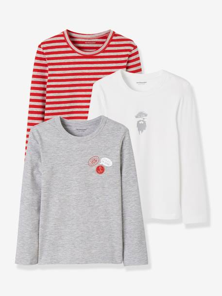 Lot de 3 T-shirts stretch garçon manches longues LOT GRIS CHINE ROUGE 5 - vertbaudet enfant