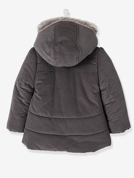 Manteau fille en velours doublé polaire ANTHRACITE+ROSE PALE 4 - vertbaudet enfant