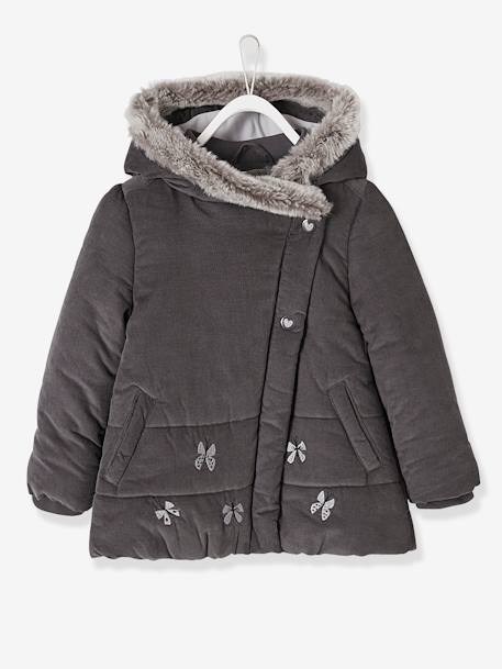 Manteau fille en velours doublé polaire ANTHRACITE+ROSE PALE 1 - vertbaudet enfant