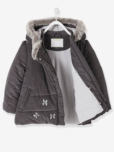 Manteau fille en velours doublé polaire ANTHRACITE+ROSE PALE 3 - vertbaudet enfant