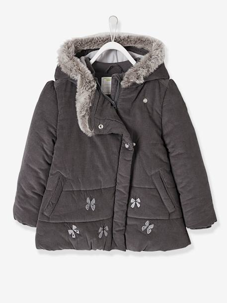 Manteau fille en velours doublé polaire ANTHRACITE+ROSE PALE 2 - vertbaudet enfant