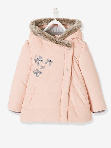 Manteau fille en velours doublé polaire ANTHRACITE+ROSE PALE 6 - vertbaudet enfant