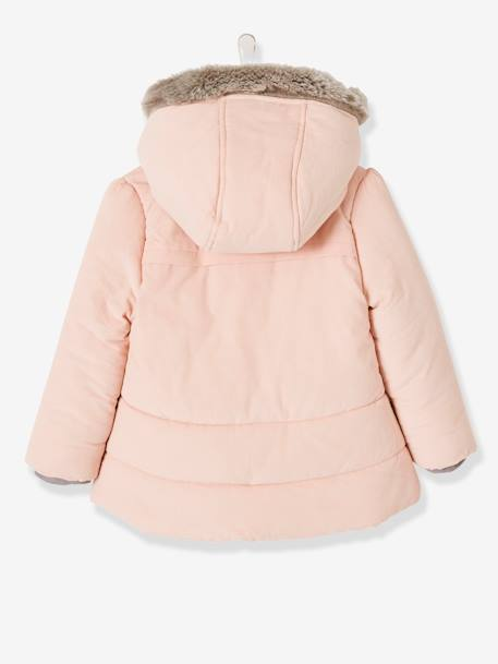 Manteau fille en velours doublé polaire ANTHRACITE+ROSE PALE 9 - vertbaudet enfant