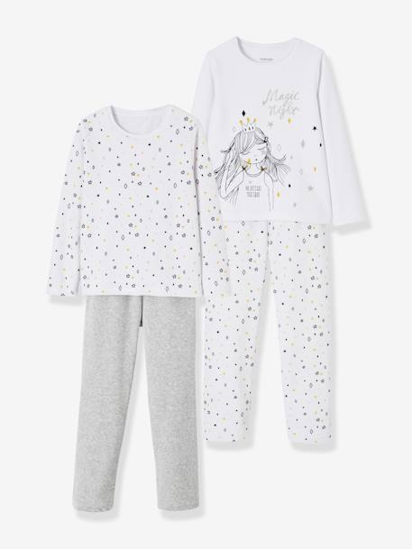 Lot de 2 pyjamas velours fille combinables GRIS CLAIR CHINE 6 - vertbaudet enfant