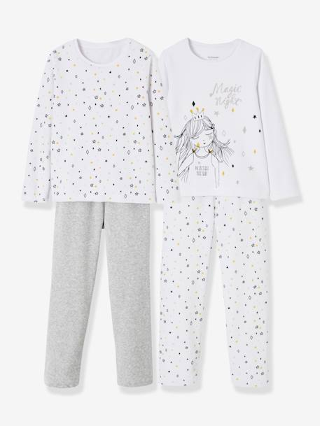 Lot de 2 pyjamas velours fille combinables GRIS CLAIR CHINE 1 - vertbaudet enfant