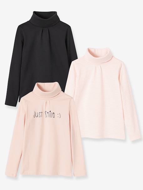 Lot de 3 sous-pulls fille LOT FRAMBOISE+LOT JAUNE CURRY+LOT NOIR+LOT ROSE PALE 21 - vertbaudet enfant