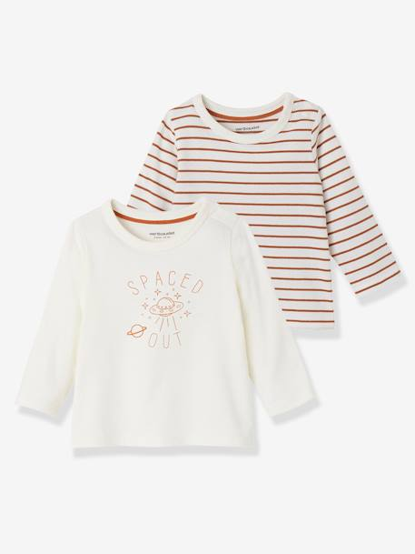 Lot de 2 T-shirts bébé garçon manches longues LOT CARAMEL+Lot jaune moutarde+LOT MARINE GRISE+Lot Rouge 4 - vertbaudet enfant