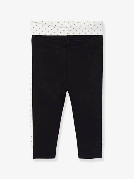 Lot de 2 leggings longs bébé fille LOT ANTHRACITE + POIS+LOT FRAMBOISE + POIS+LOT IVOIRE+Lot marine grisé+Lot noir+LOT NOIR+POIS+Lot rose+LOT ROSE PALE 22 - vertbaudet enfant
