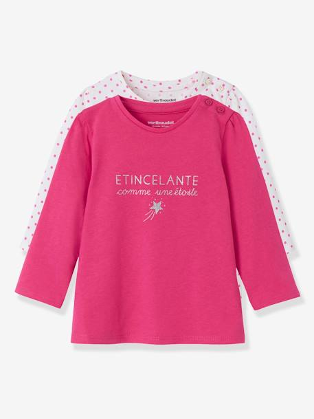 Lot de 2 T-shirts message bébé fille LOT BLANC+LOT FUCHSIA+LOT MARINE GRISE+LOT ROSE PALE 6 - vertbaudet enfant