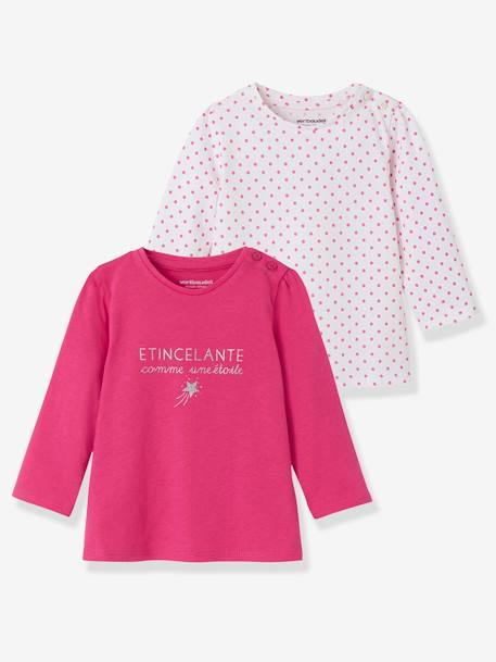 Lot de 2 T-shirts message bébé fille LOT BLANC+LOT FUCHSIA+LOT MARINE GRISE+LOT ROSE PALE 9 - vertbaudet enfant