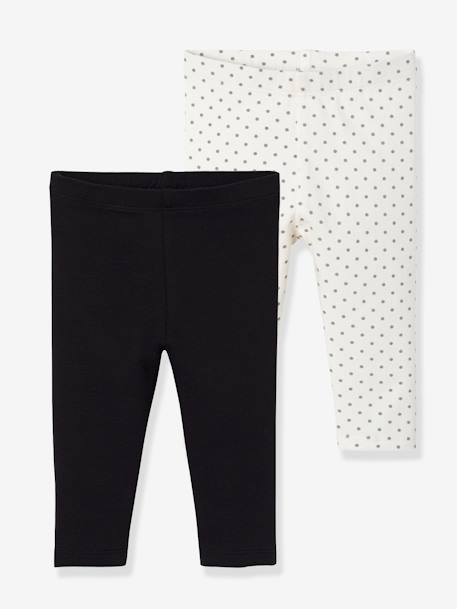 Lot de 2 leggings longs bébé fille LOT ANTHRACITE + POIS+LOT FRAMBOISE + POIS+LOT IVOIRE+Lot marine grisé+Lot noir+LOT NOIR+POIS+Lot rose+LOT ROSE PALE 25 - vertbaudet enfant