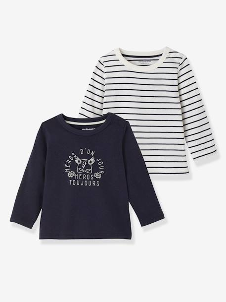Lot de 2 T-shirts bébé garçon manches longues LOT CARAMEL+Lot jaune moutarde+LOT MARINE GRISE+Lot Rouge 17 - vertbaudet enfant