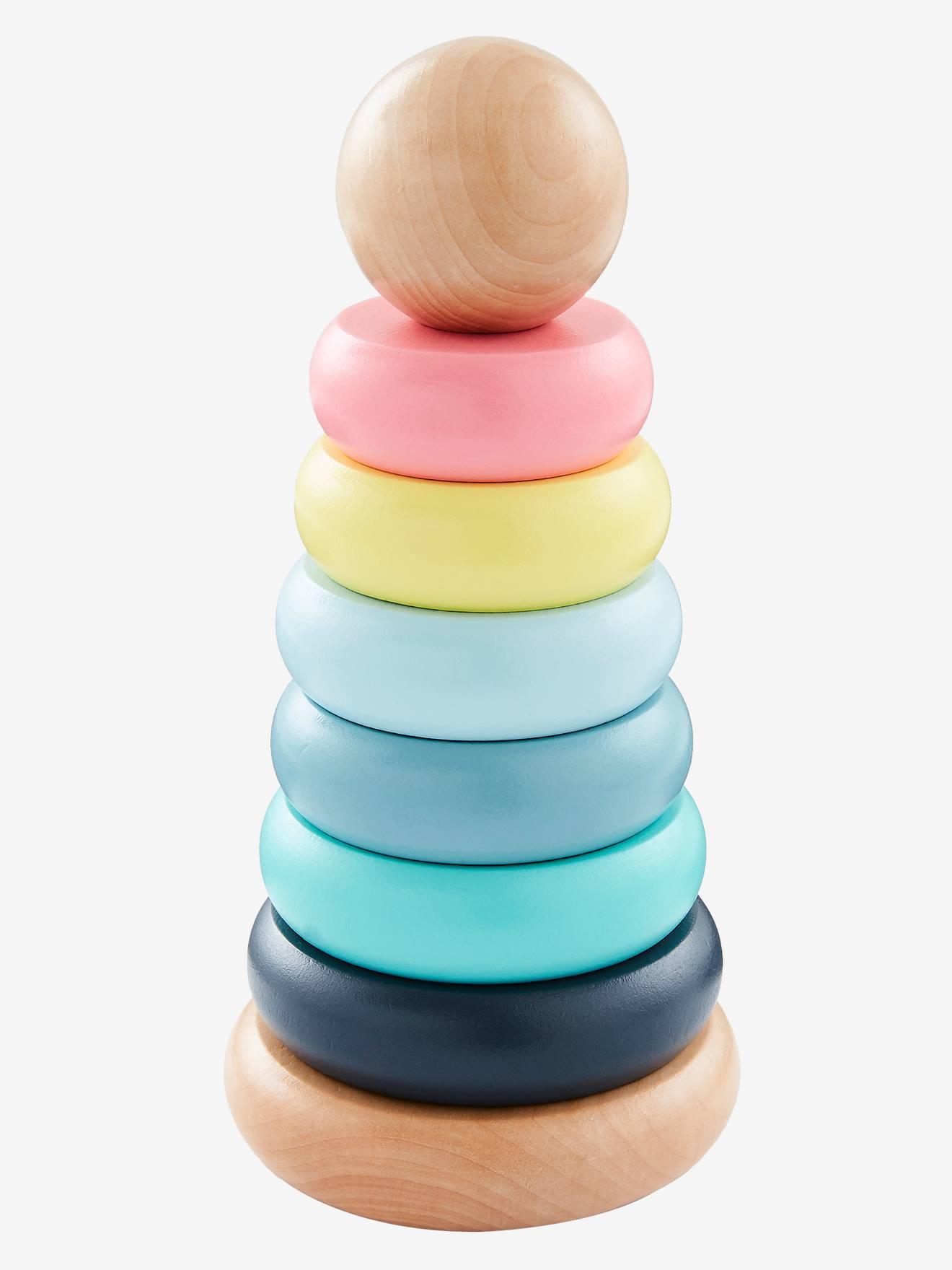 Pyramide d'éveil en bois multicolore