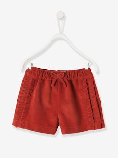 shorts-Short bébé fille en velours et volants