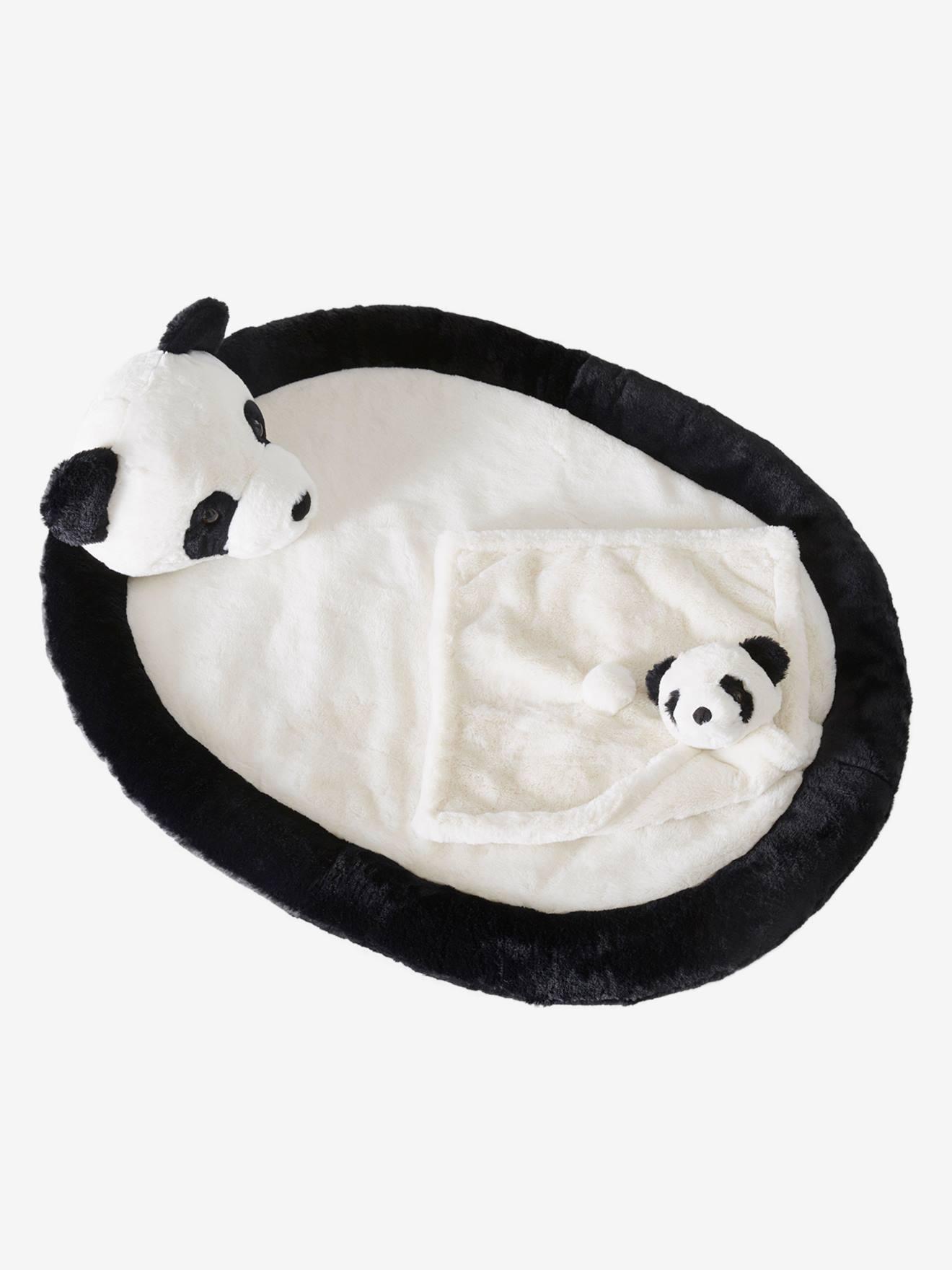 Coffret tapis de jeu + doudou Panda. noir