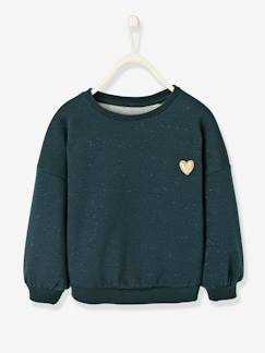 Fille-Sweat-Sweat fille molleton irisé patch coeur
