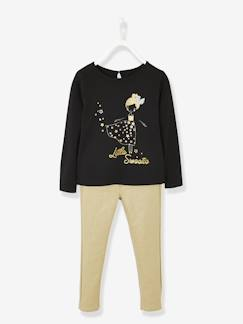 Fille-Pull, gilet, sweat-Ensemble fille T-shirt motifs irisés et pantalon doré