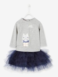 mode noel-Ensemble T-shirt sequins et jupon bébé fille