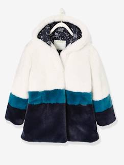 Fille-Manteau, veste-Manteau fille imitation fourrure tricolore