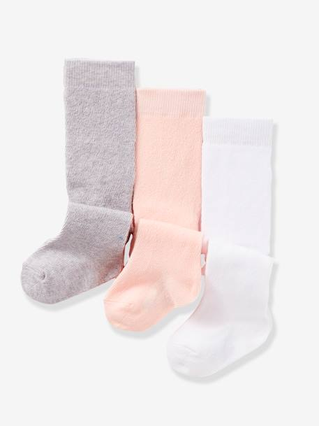 Lot de 3 collants bébé maille Blanc / rose clair / gris chin+LOT CUIVRE IRISE+Lot jaune moutarde+Lot lavande+Lot noir 1 - vertbaudet enfant