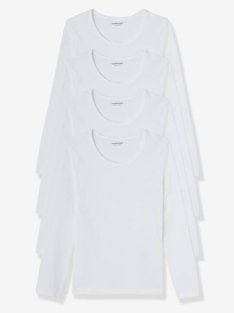 lot de 4 t shirts fille manches longues blanc vertbaudet. Black Bedroom Furniture Sets. Home Design Ideas