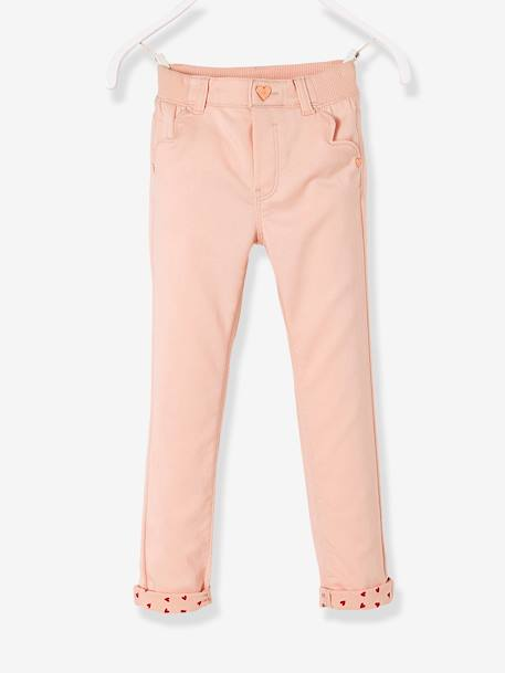 Pantalon slim fille tour de hanches MEDIUM Rose pâle 1 - vertbaudet enfant
