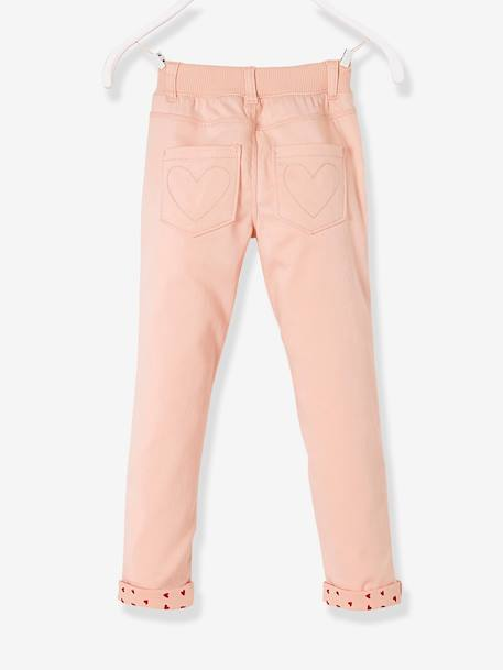 Pantalon slim fille tour de hanches LARGE Marine+Rose pâle 7 - vertbaudet enfant