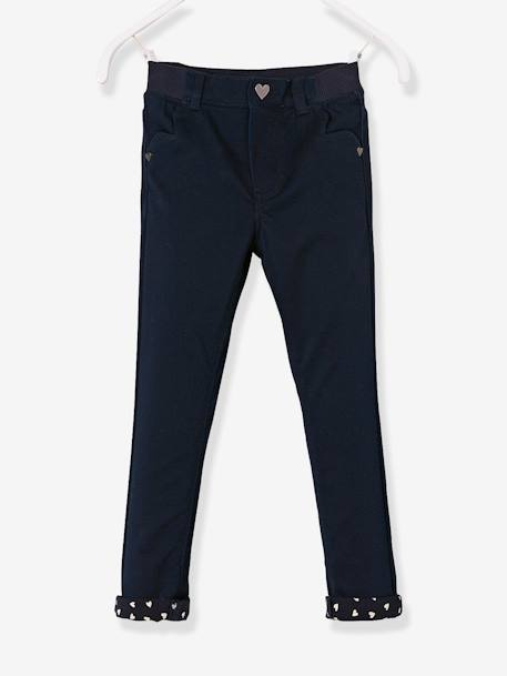 Pantalon slim fille tour de hanches LARGE Marine+Rose pâle 1 - vertbaudet enfant