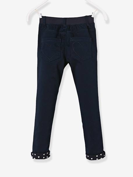 Pantalon slim fille tour de hanches LARGE Marine+Rose pâle 2 - vertbaudet enfant