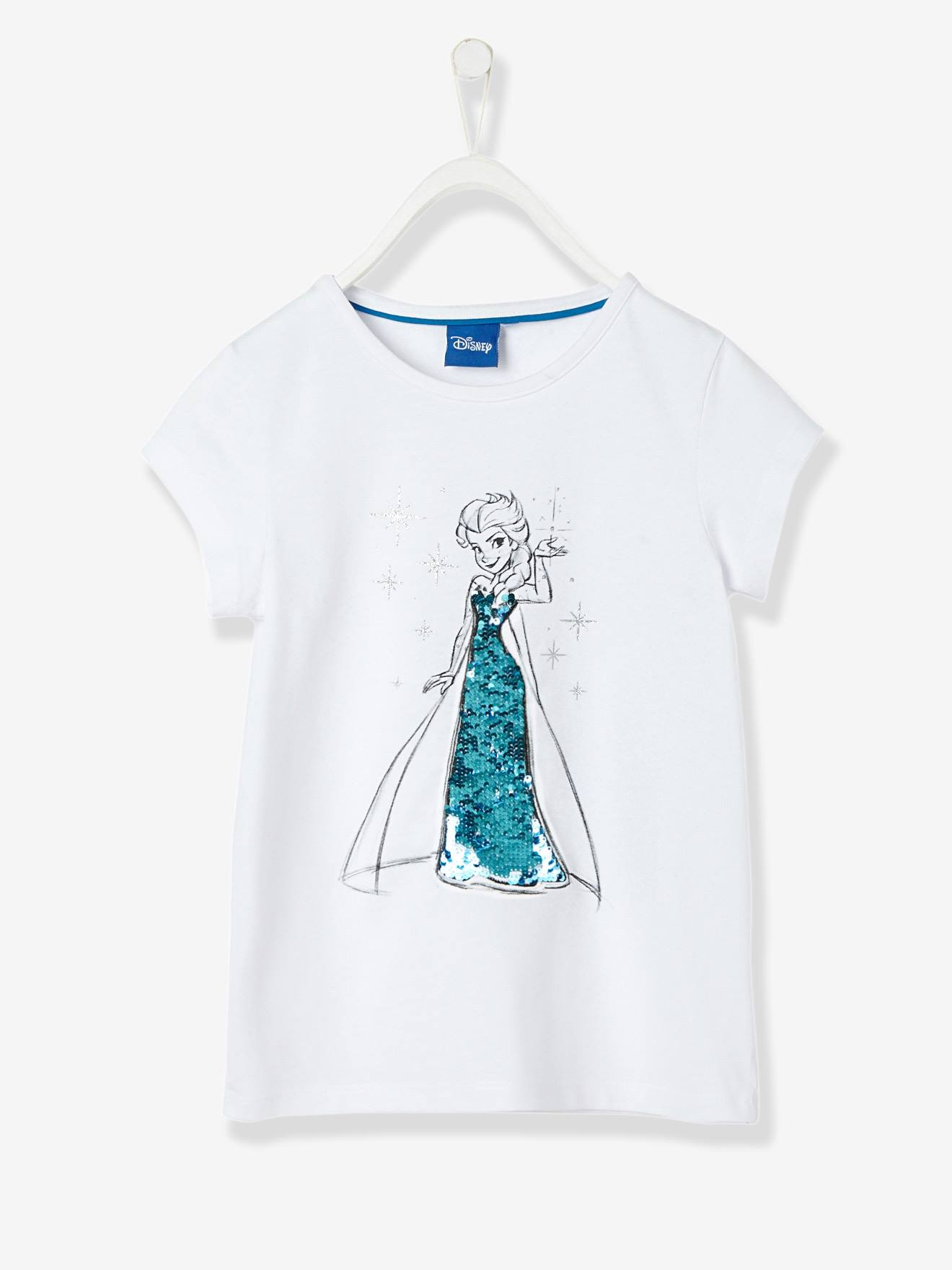 T shirt fille Reine des neiges® à sequins réversibles blanc Reine des neiges