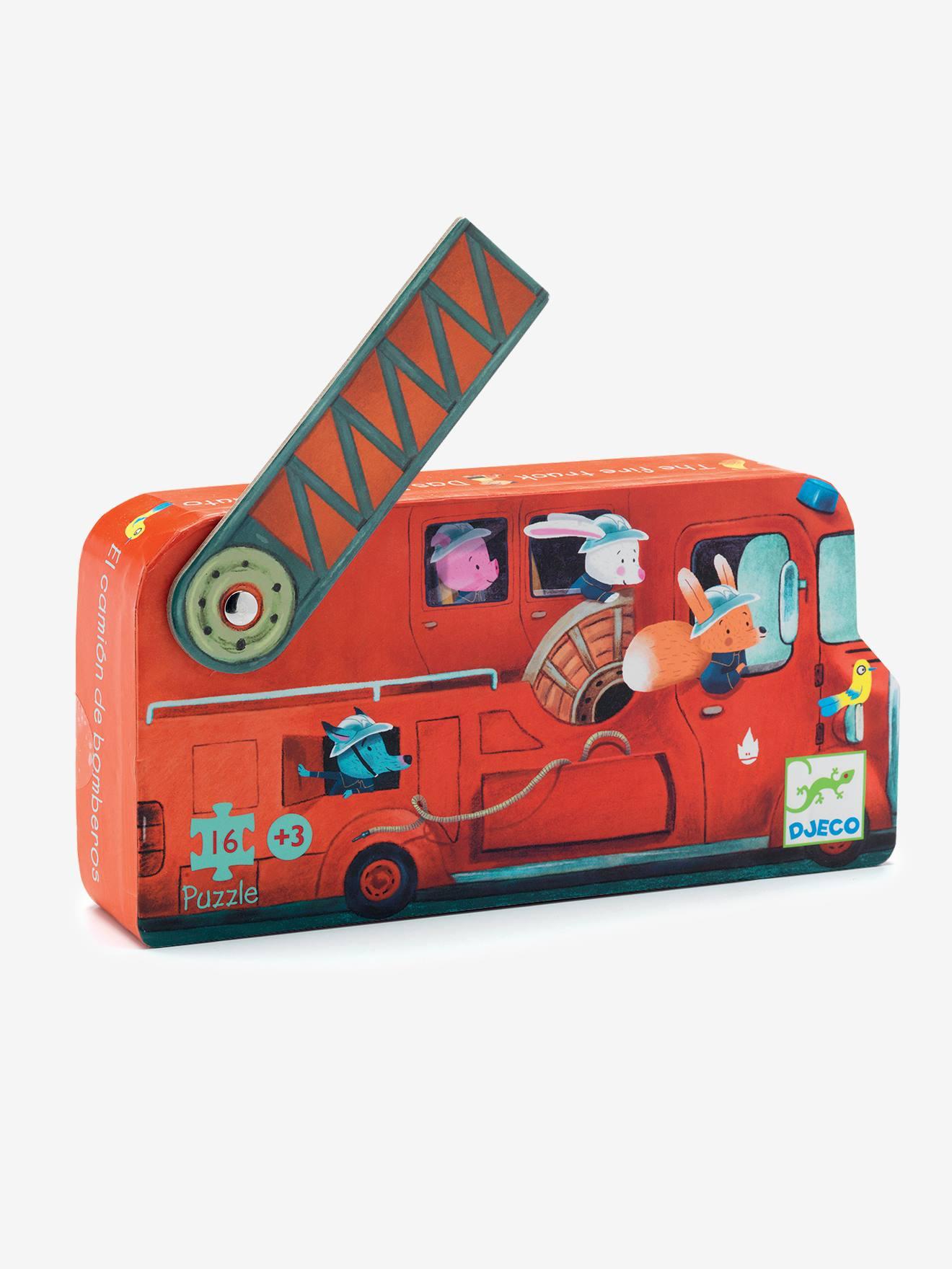 Puzzle Le camion de pompier 16 pièces DJECO multicolore