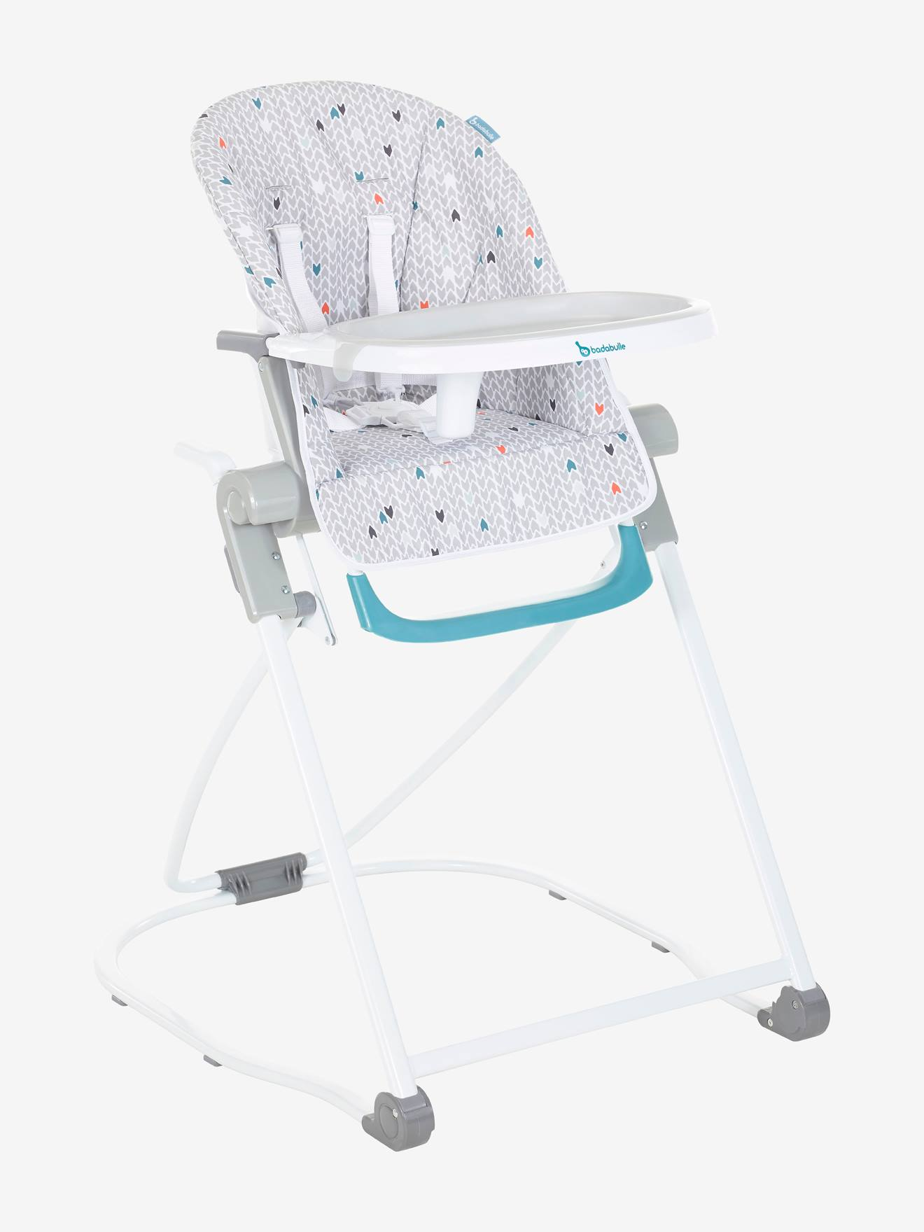 Chaise haute compacte BADABULLE - gris/chevrons