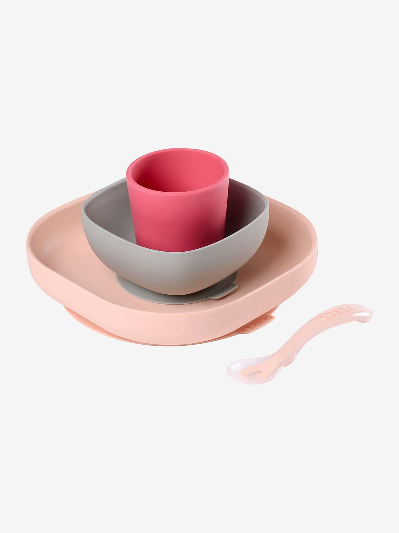 Set vaisselle 4 pièces silicone BEABA rose
