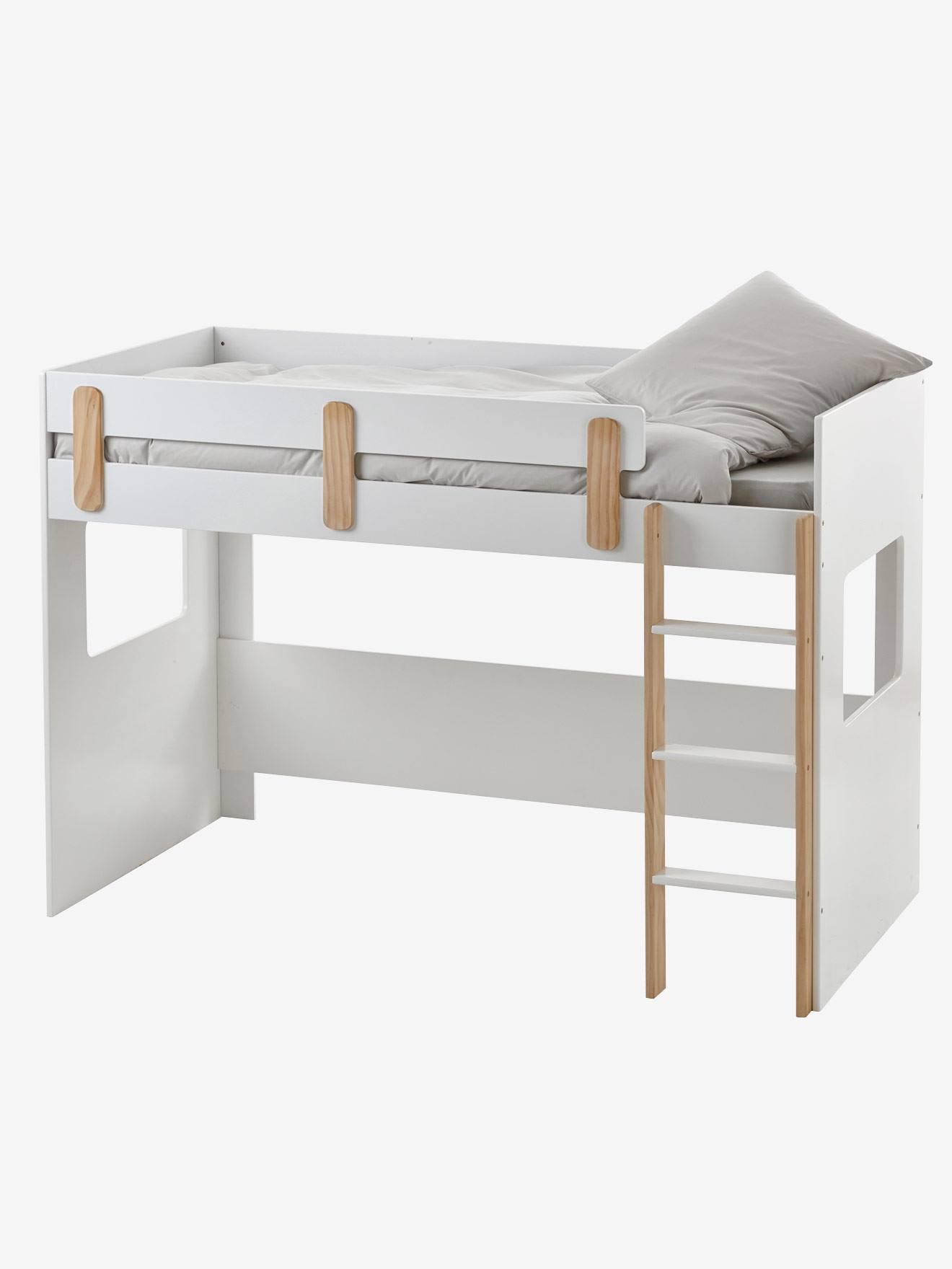 lit mezzanine mi hauteur everest blanc bois vertbaudet