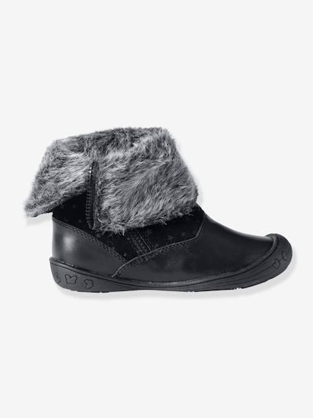 40767e22edad7 Mi-bottes cuir fille Camel+Noir 9 - vertbaudet enfant