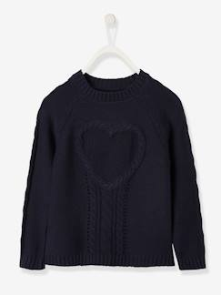 Fille-Pull, gilet, sweat-Pull-Pull fille maille fantaisie motif coeur
