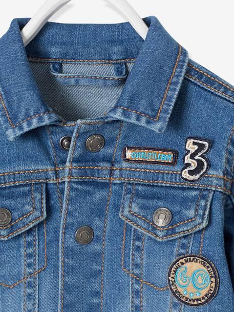 veste en jean b b gar on avec badges denim stone vertbaudet. Black Bedroom Furniture Sets. Home Design Ideas