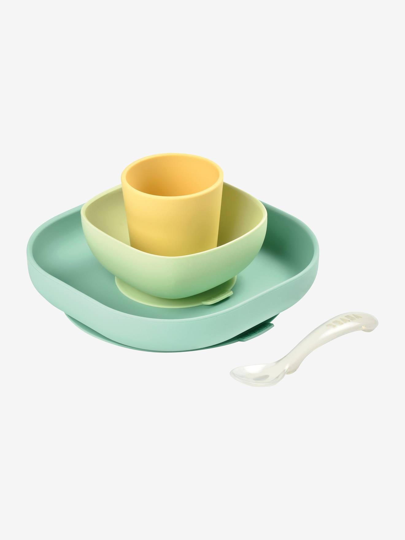 Set vaisselle 4 pièces silicone BEABA jaune