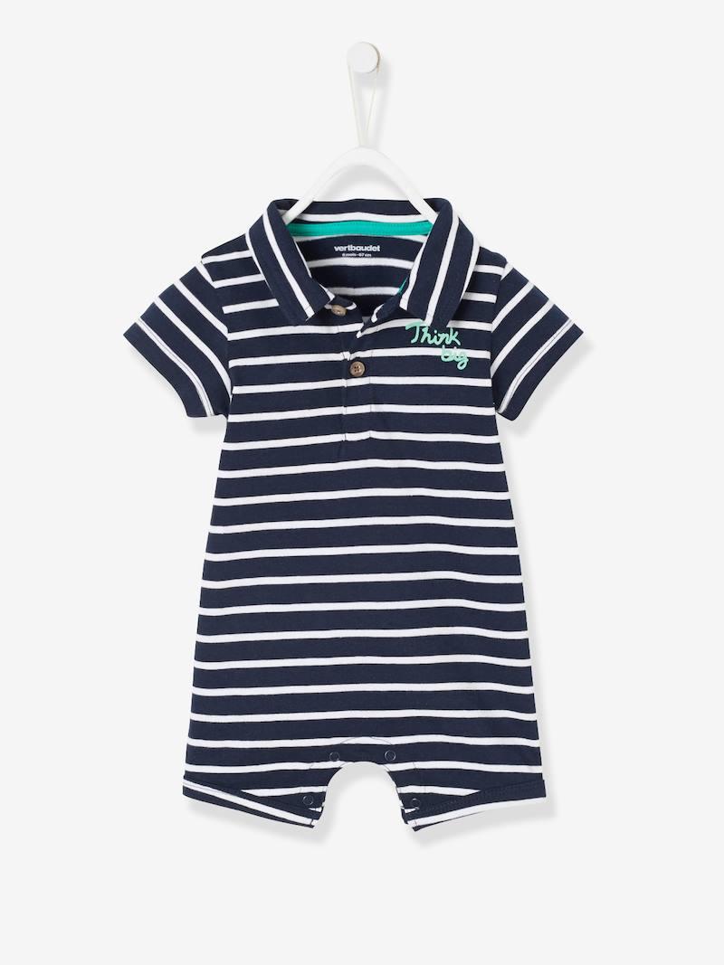 Combinaison de plage col polo bébé garçon - bleu marine/blanc