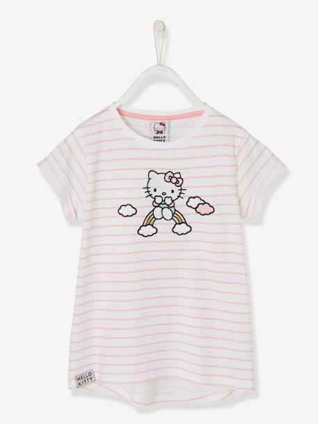 T-shirt rayé Hello Kitty® manches courtes RAYE ROSE 1 - vertbaudet enfant