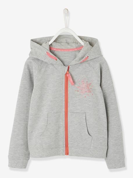 Sweat sport fille zippé motif étoile à paillettes GRIS CLAIR CHINE+MARINE  GRISE+ROSE 6b230e85237