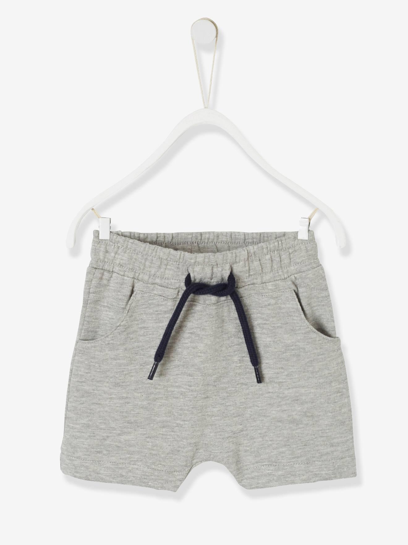 fcc2b5b06f261 Bermuda bébé garçon en molleton gris chiné - Vertbaudet
