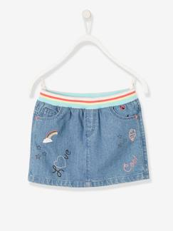 Collection maternelle-Fille-Jupe en jean fille graffitis irisés