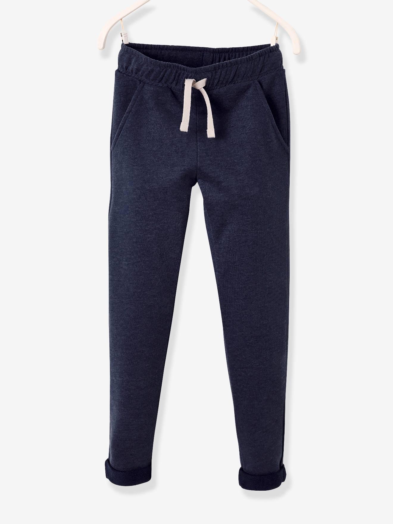 Pantalon garçon en molleton marine chiné