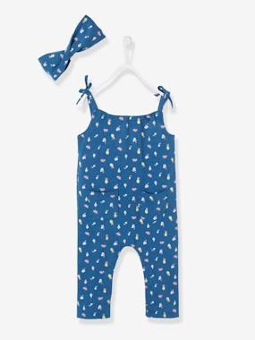 SOLDES - Ensemble combinaison et bandeau bébé fille en molleton bleu  pétrole à motifs vertbaudet 14047c4745d